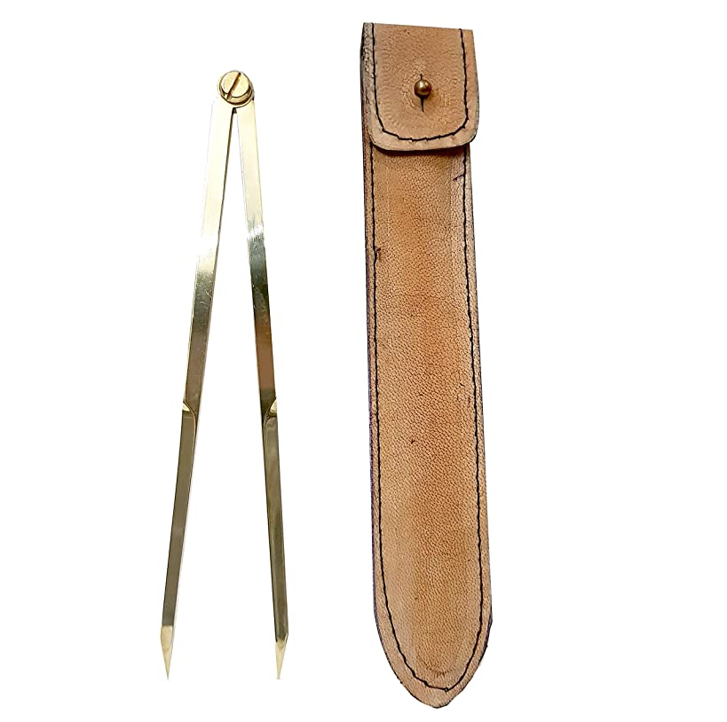 Brass School Proportional Divider Scientific Point Lightweight Leather Case - Geometry Drafting Tool Civil Engineering Architect