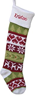 Knitted Christmas Stockings White Cuff Dear Hearts Fair Isle Pattern 28