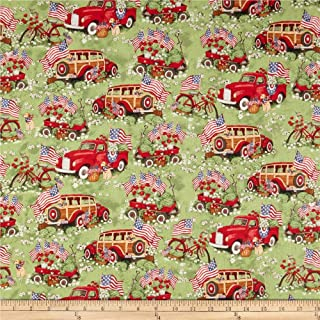 Susan Winget Patriotic Red Trucks And Wagons Multi Fabric by the Yard