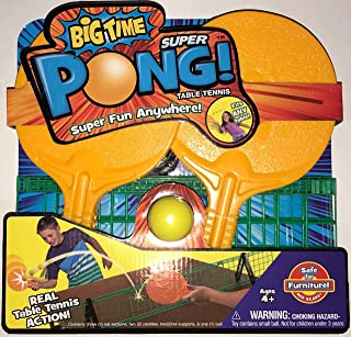 Big Time Super Pong Complete Portable Table Tennis Set - Includes Ping Pong Paddles, Ball, and Net - Easy Set Up