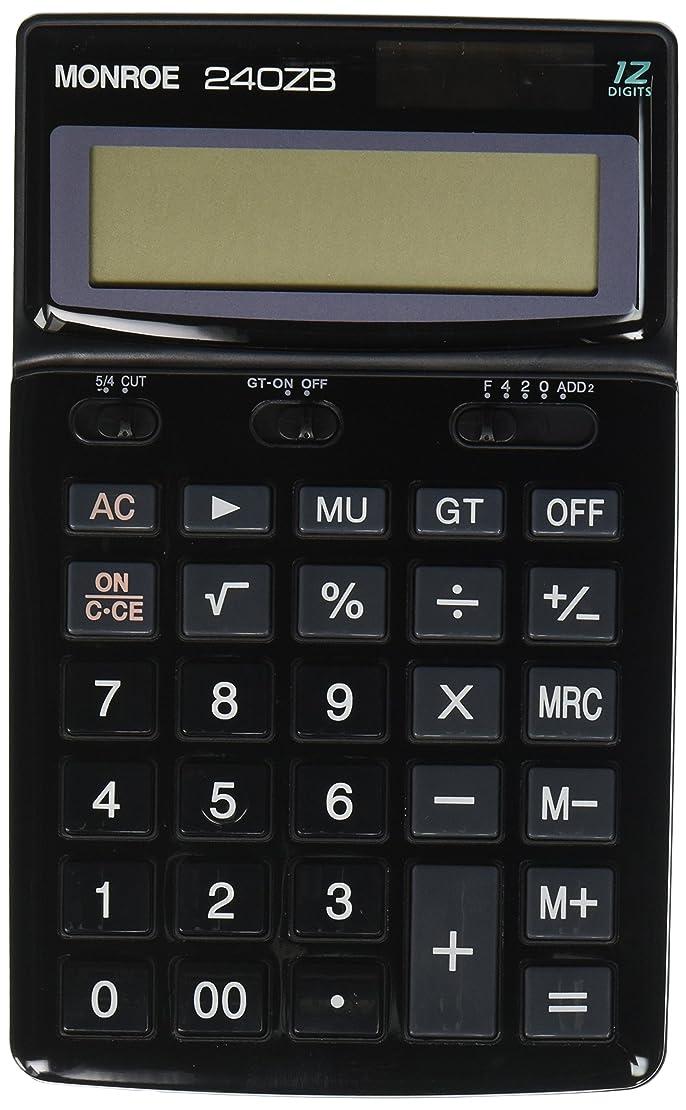 左フィットデッドモンローシステムforビジネスモンロー240zブラックハンドヘルド電卓商用グレード12桁ハンドヘルドバッテリー/ Solar Powered電卓大きな桁と角度調整できる表示。