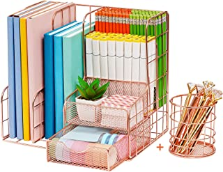 Marbrasse Rose Gold Desk Organizer for Women, Multi-Functional Mesh Desk Organizers and Accessories, Large Capacity Metal ...