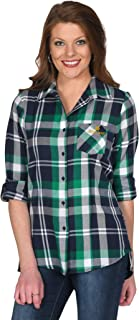 UG Apparel NCAA Women's Boyfriend Plaid Roll Up Sleeve Shirt
