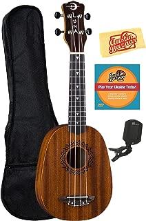 Luna Guitars Vintage Mahogany Pineapple Ukulele Bundle with Gig Bag, Tuner, Instructional DVD, and Austin Bazaar Polishing Cloth