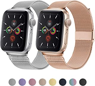TRA Metal Band Compatible with Apple Watch 38mm 40mm 42mm 44mm, Stainless Steel Mesh Adjustable Replacement Strap Wristband for iWatch Series 5/4/3/2/1 Women & Men (Silver/Rose Gold, 38mm/40mm)