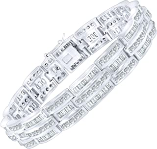 Men's Elegant Sterling Silver .925 Bracelet with 270 Highest Quality Channel-Set Simulated Diamond Baguette & Round Cubic Zirconia (CZ) Stones, Secure Box Lock, Platinum Plated. Available in sizes 8