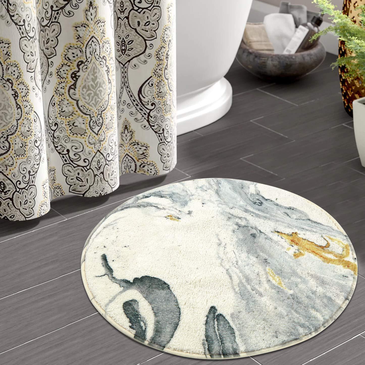 Haocoo Round Bathroom Rugs 2ft Beige Marble Velvet Bath Mat Non Slip Door Carpet Soft Luxury Microfiber Machine Washable Buy Online In Bahrain At Bahrain Desertcart Com Productid 157503062