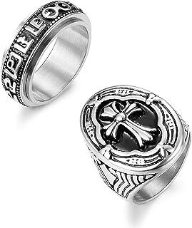 Hanpabum 2PCS Stainless Steel Rings for Men Vintage Cross Signet Spinner Band Rings Size 7-13