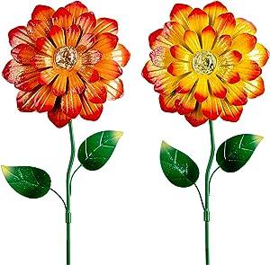 hogardeck Metal Flower Garden Stakes Decor, 26 Inch Weatherproof Sunflowers Ornament with Shaking Head & Glow in Dark, Metal Plant Sticks Fall Yard Art Decoration for Patio, 2 Pack(Yellow & Orange)