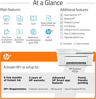 HP DeskJet 4155e All-in-One Wireless Color Printer, with bonus 6 months free Instant Ink with HP+ (26Q90A)