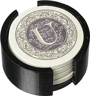 Thirstystone Monogram 4 Piece Coaster Set with Circular Holder, Multicolor