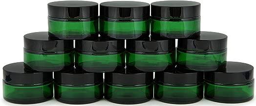 Vivaplex, 12, Green, 15 ml, Round Glass Jars, with Inner Liners and black Lids
