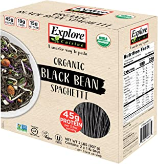 Explore Cuisine Organic Black Bean Spaghetti - Family Pack - 2 lbs - Easy to Make Gluten-Free Pasta - High in Plant-Based ...