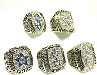 Custom Rings Dallas Cowboys Super Bowl 5 Ring Set 1971 VI, 1977 XII, 1992 XXVII, 1993 XXVIII, 1995 XXX