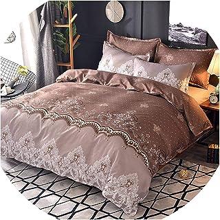 Juego de ropa de cama Perilla Fire, diseño floral, color blanco, juego de funda de edredón de lujo para cama individual, d...