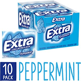 Extra Peppermint Sugarfree Gum 15 Count (Pack of 10)