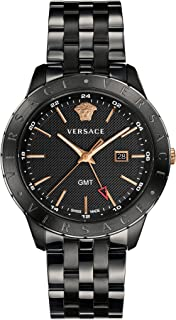 Versace Men's Business Slim Quartz Watch with Stainless-Steel Strap, Black, 21 (Model: VEBK00618)