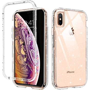 DUEDUE iPhone Xs Max Case Clear,3 in 1 Glitter Shockproof Drop Protection Heavy Duty Hybrid Hard PC Transparent TPU Bumper Full Body Protective Case for iPhone Xs Max/6.5'' for Women/Girls,Clear