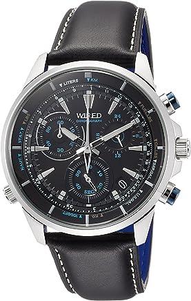 [ワイアード]WIRED 腕時計 WIRED THE BLUE クロノグラフ 簡易換算尺付文字盤 ブラック革バンド 10気圧防水 AGAW448 メンズ
