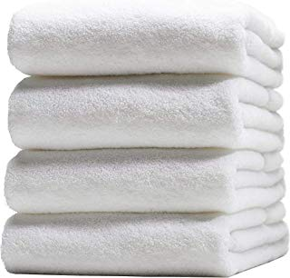 Premium 100% Cotton White Bath Towel Set (4 Pack, 27 x 54 Inch) Lightweight High Absorbency Multipurpose Quick Drying Pool Gym White Towel Set by HomeLabels
