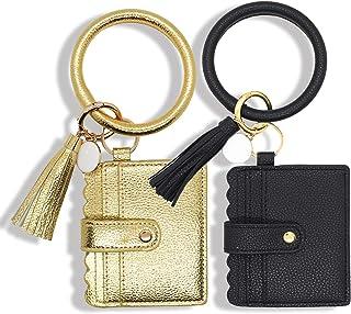 ATIMIGO 2PCS Multifunctional Wristlet Keychain Bracelet Bangle Card Holder PU Leather Round Key Ring with Wallet Tassel Ke...