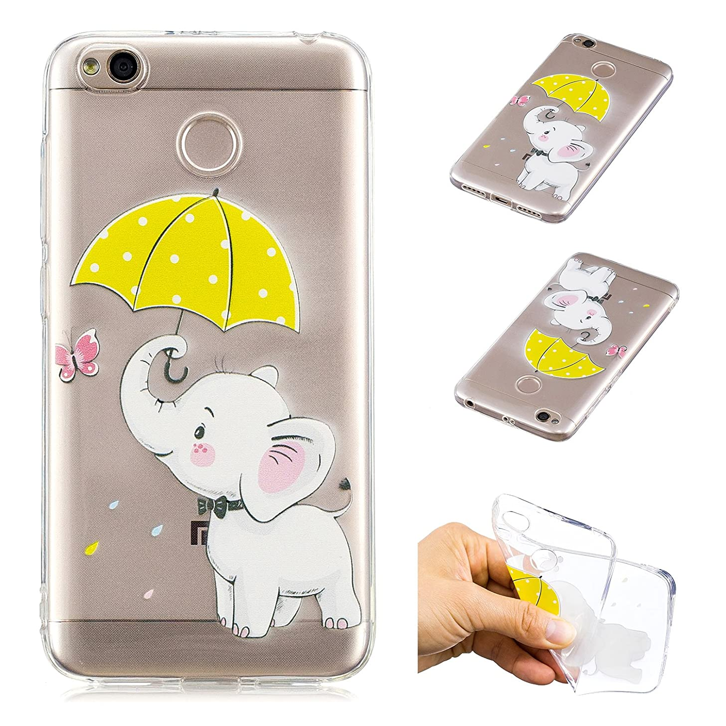 Creative Case for Xiaomi Redmi Note 5A,Transparent Soft Clear TPU Cover for Xiaomi Redmi Note 5A,Leecase Umbrella Elephant Cute Pattern Flexible Protective Case Cover for Xiaomi Redmi Note 5A