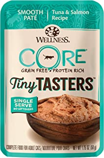 Wellness New Core Natural Grain Free Tiny Tasters, Tuna & Salmon, 1.75 oz (Pack of 12), 16110