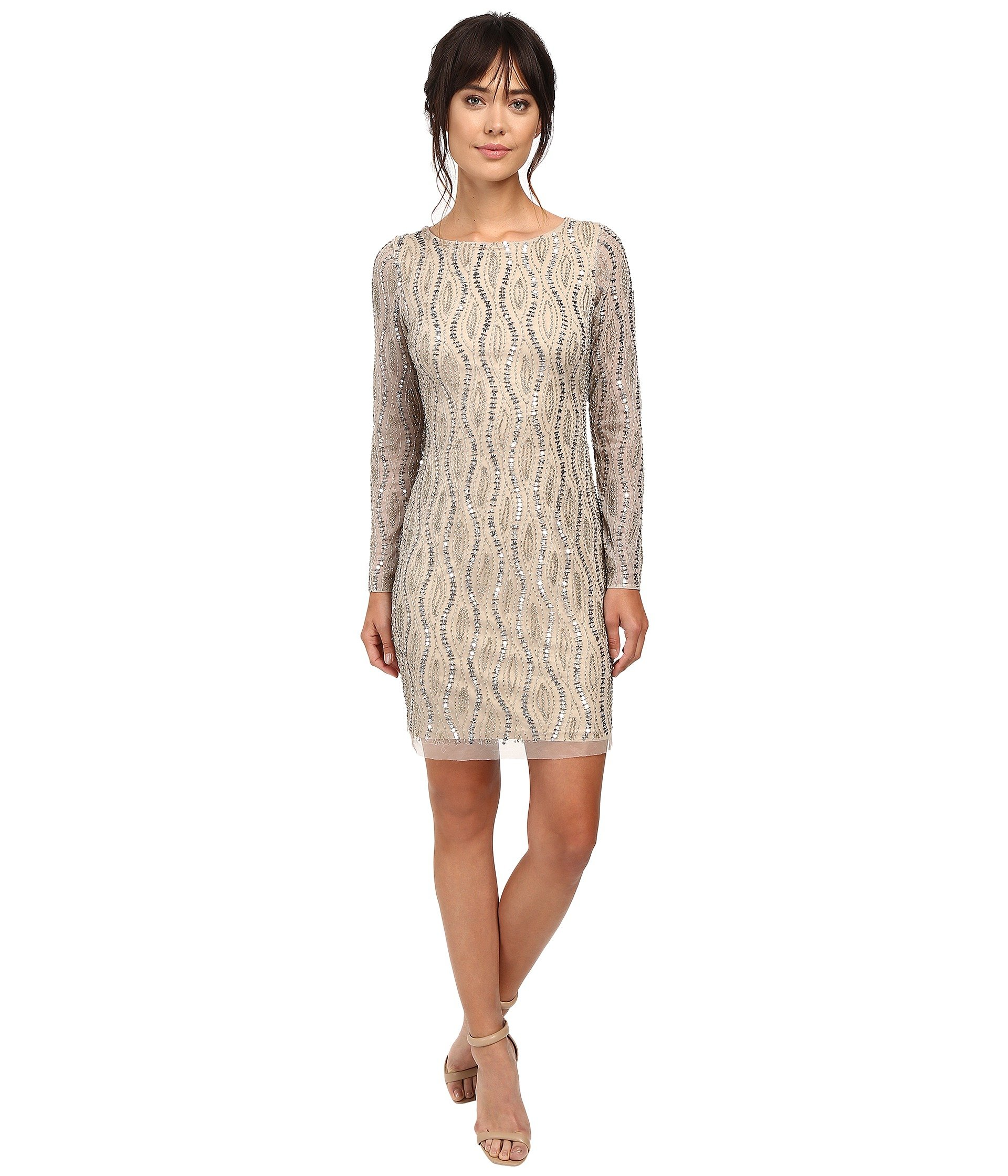 ADRIANNA PAPELL LONG SLEEVE BEADED COCKTAIL DRESS, SILVER/NUDE ...