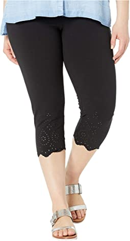 Plus Size Eyelet Trim Cotton Capri Leggings