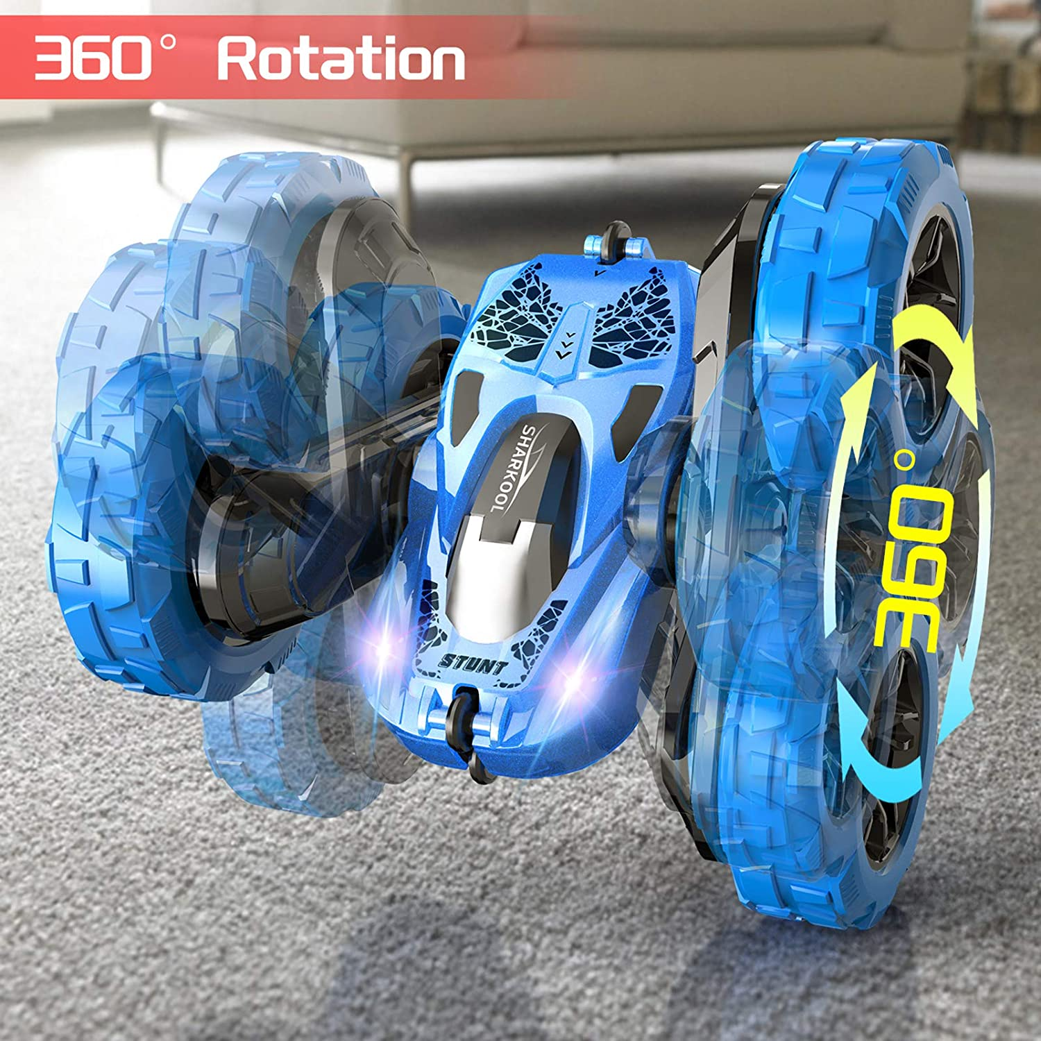 LED Headlights Off Road Toy Car for 3 4 5 6 7 8-12 Year Old Boys/&Girls 4WD High Speed Double Sided 360/° Rolling Rotating RC Car SHARKOOL 2.4GHz Electric Race Stunt Car Remote Control Car