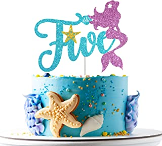 Mermaid Five Cake Topper, Happy 5th Birthday Cake Decor, I'm Five Sign, Little Mermaid Birthday Party Decoration Supplies,...