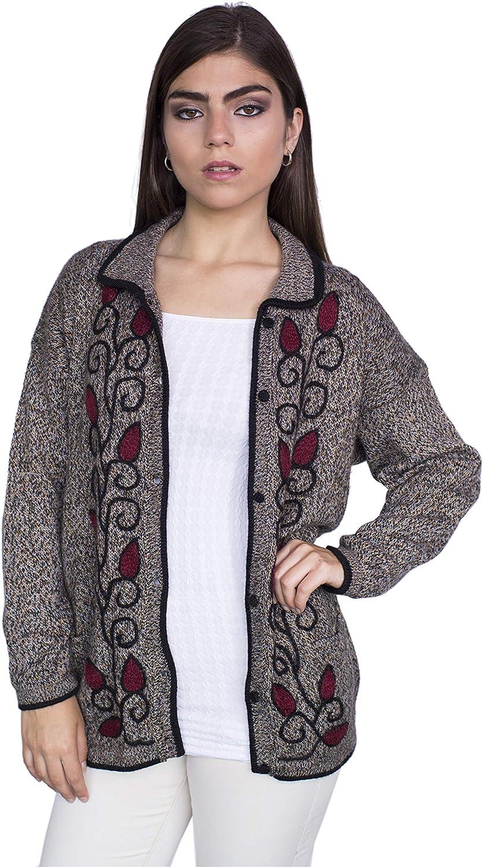 RAYMIS 100% Alpaca Wool Women´s Hand Knit Flowers Button Cardigan - Warm, Soft & Comfortable