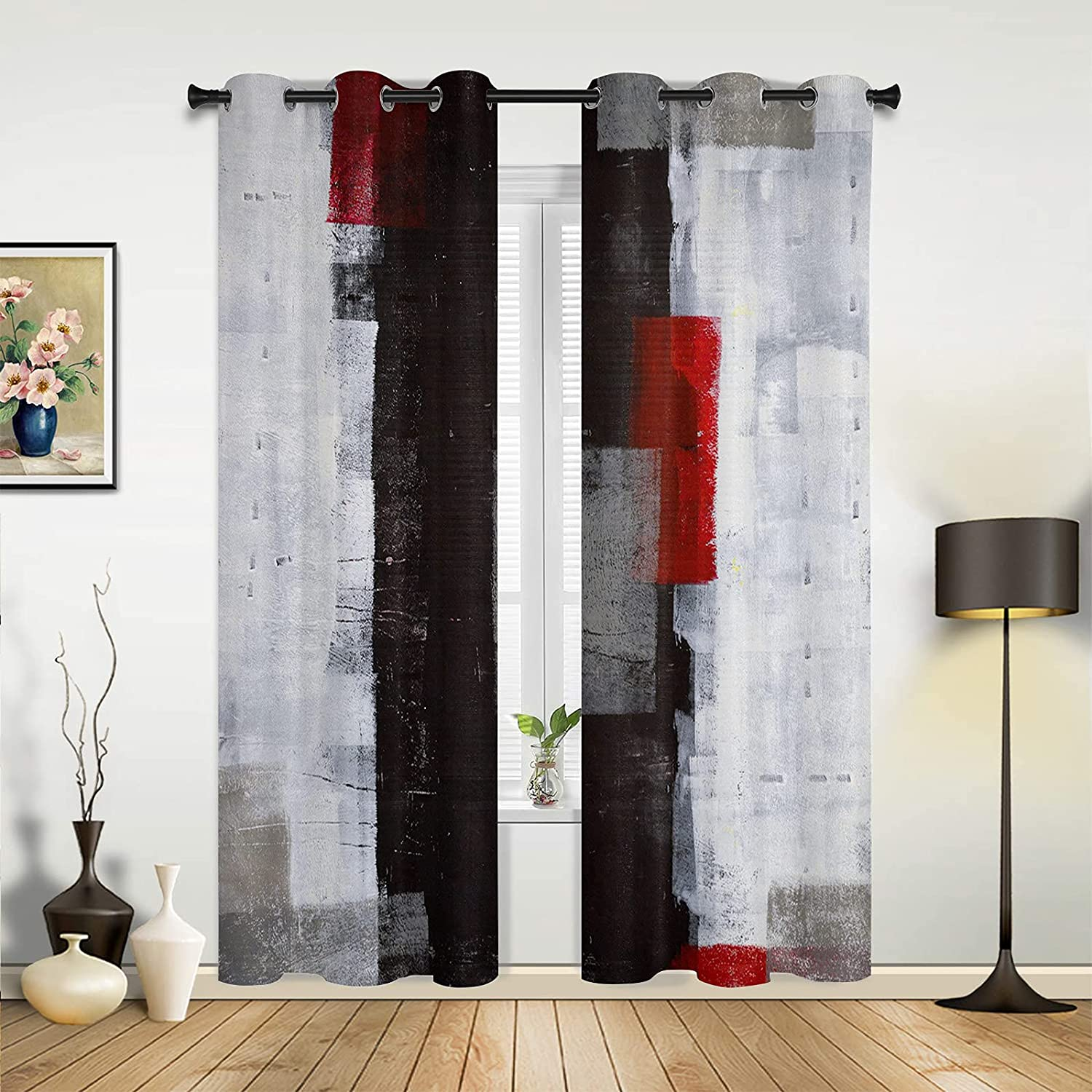 Window Sheer Curtains Gifts for Time sale Bedroom Gradient Room Black Red Living