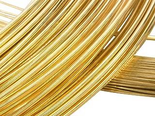 Solid 18 K Yellow Gold, Round Wire, 24 Gauge, 6 Inches, Half Hatd