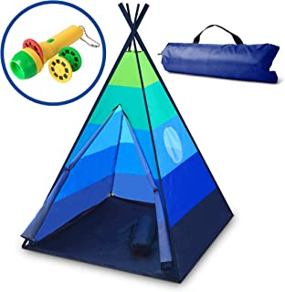 USA Toyz Happy Hut Play Tent - Kids Teepee Indoor and Outdoor Portable Play Tent w/ Safari Projector Toy and EZ Carry Play Tent Bag (Blue)