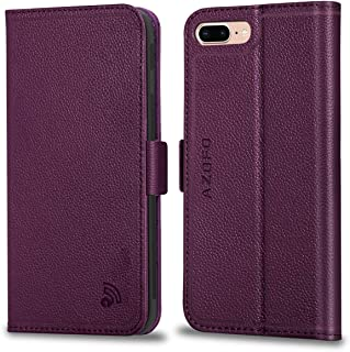 AZOFO iPhone 8 Plus Case, iPhone 7 Plus Case, Genuine Leather iPhone 8 Plus Wallet Case, Flip Cover Book Style, Card Holder Slots, Magnetic Clousure Compatible iPhone 8 Plus/iPhone 7 Plus, Purple