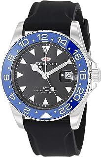 Seapro Men's Agent Stainless Steel Quartz Rubber Strap, Black, 20 Casual Watch (Model: SP0122)
