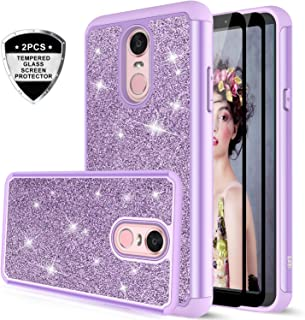 LG Stylo 4 Case, LG Stylo 4 Plus Case, LG Q Stylus Glitter Case with Tempered Glass Screen Protector [2 Pack], LeYi Bling Girls Women Heavy Duty Protective Phone Case for LG Stylo 4 TP Purple/Violet