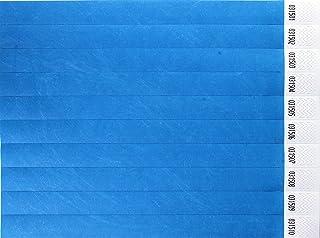 CARTALOTO-1000 Bracelets d'identification Tyvek 19mm – Néon Blue, BITSNB, Multicouleur