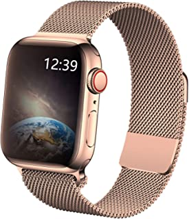 TTWEN Compatible for Apple Watch Band 38mm 40mm 42mm 44mm, Stainless Steel Mesh Magnetic Sport Wristband Loop for iWatch Series 1/2 / 3/4
