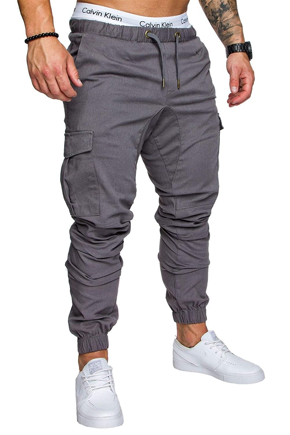 Men's Chino High material Trousers gift Drawstring Solid Jogging Pant C Sweat
