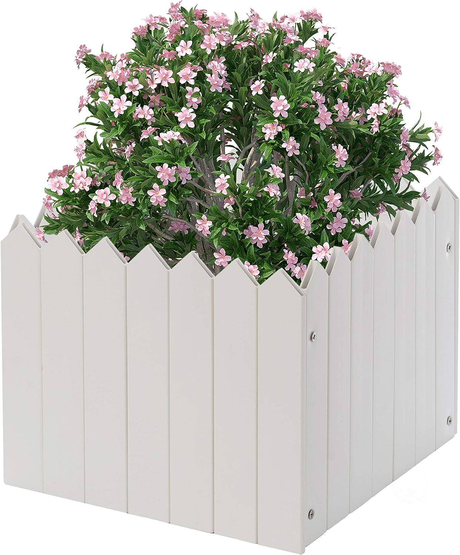 Gardenised Square Traditional Fence Discount mail order Nashville-Davidson Mall Design Planter Box Vinyl Wh