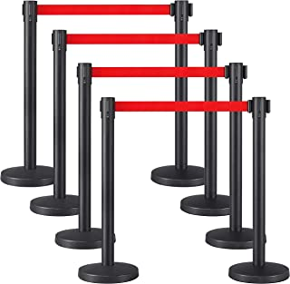 Yaheetech 8-Pack Stanchion Post Rope Barriers - Heavy Duty Black Crowd Control Stanchions 36-Inch Height with 6.5 Feet Red...
