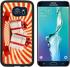 MSD Premium Samsung Galaxy S6 Edge Aluminum Backplate Bumper Snap Case Vintage holiday background with two red gift boxes Vector illustration IMAGE 23701945