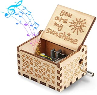 Sponsored Ad - Hexagram You are My Sunshine Music Box Vintage Laser Engraved Wooden Musical Boxes Gifts for Birthday/Valen...