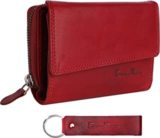 Chunkyrayan Echtleder Damen Geldbörse Hochwertig Vintage RFID Schutz inklusive Leder Schlüsselanhänger GB-18 Red