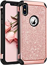 """BENTOBEN iPhone X/10 Case, iPhone Xs (2018) Shockproof Glitter Sparkle Bling Girl Women 2 in 1 Shiny Faux Leather Hard PC Soft Bumper Protective Phone Cover for Apple iPhone X/XS 5.8"""", Rose Gold/Pink"""