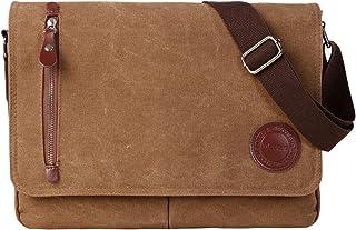 """Vintage Canvas Satchel Messenger Bag for Men Women,Travel Shoulder bag 13.5"""" Laptop Bags Bookbag (Coffee)"""