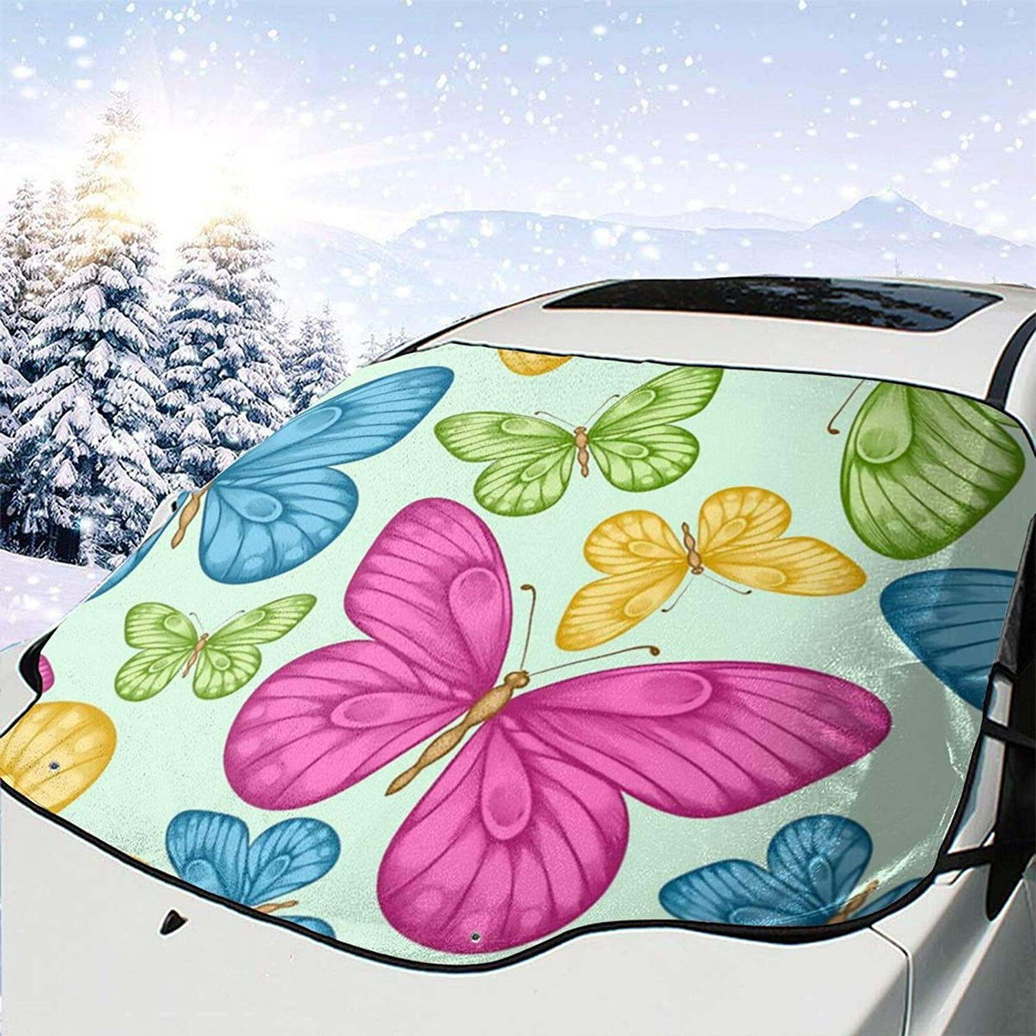 lowest price Car Front Window Quantity limited Windshield Snow Cover Green Yellow Bu Pink Blue