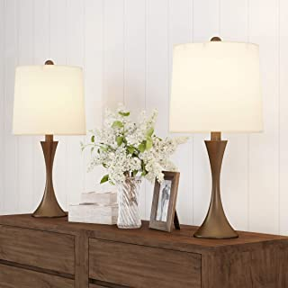 Lavish Home Table Lamps – Set of 2 Mid-Century Modern Metal Flared Trumpet Base with Energy Efficient LED Light Bulbs Incl...